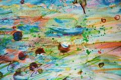 被弄脏的泥泞的绿色橙黄蜡斑点,创造性的设计 库存照片