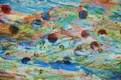 被弄脏的泥泞的铅笔绿色橙黄蜡斑点,创造性的设计 免版税库存照片