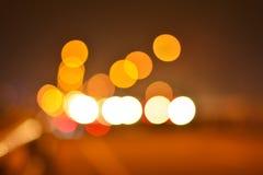 被弄脏的红绿灯在夜 库存图片