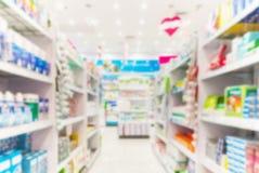 被弄脏的药房商店 免版税库存图片