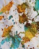 被弄脏的蓝色金黄斑点构造,给冬天背景打蜡 库存照片