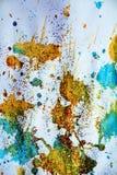 被弄脏的金黄蓝色斑点构造,给冬天背景打蜡 免版税库存照片