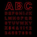 被弄脏的霓虹向量字体 红色信件、标志和数字在黑背景 库存照片