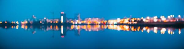 被弄脏的Bokeh建筑都市背景 与都市的背景 免版税图库摄影