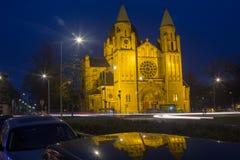 被恢复的教会被变换成事件locatoin 库存照片