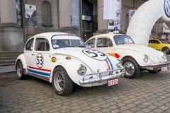 被恢复的老时尚VW甲虫Herbie样式 免版税库存图片