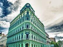 被恢复的萨拉托加旅馆看法,在1879年建立在哈瓦那旧城 图库摄影