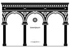 被成拱形的古典门面剪影  向量例证