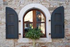 被成拱形的窗口和雏菊在窗口基石在村庄Strassoldo弗留利(意大利) 免版税图库摄影