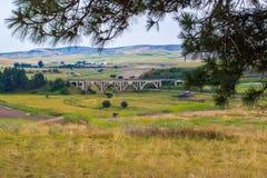 被成拱形的铁路桥梁 库存图片
