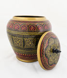 被手工造的木古董被绘的首饰盒 图库摄影