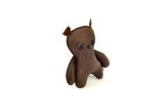 被手工造的风俗充塞了皮革玩具可怕熊-离开 库存图片
