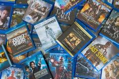 被打乱的Blu-ray圆盘电影 免版税库存照片