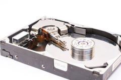 被打开的个人计算机光盘被隔绝在白色背景 库存图片