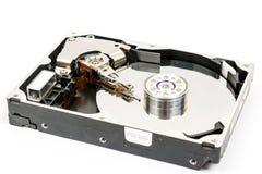 被打开的个人计算机光盘被隔绝在白色背景 图库摄影