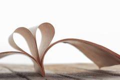 从被打开的书页的心脏形状在白色 库存图片