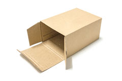被打开的包装纸箱子 免版税库存照片