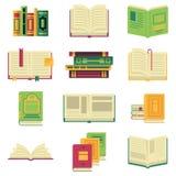 被打开的和合上不同的书和杂志或者百科全书 在动画片样式的传染媒介图片 库存例证