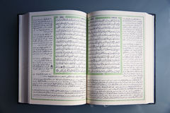 被打开的圣洁古兰经 图库摄影