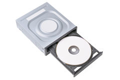 被打开的推进CD - DVD -与一张黑盖帽和盘,白色背景的蓝色光芒 免版税库存图片