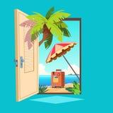 被打开的春天门 打开与室外夏天的风景的入口 受欢迎和旅行传染媒介例证 向量例证
