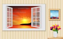 被打开的木窗口和看法在棕榈树日落在海滩 免版税库存照片