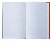 被打开的橙色盖子笔记本 库存图片