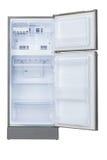 被打开的空的冰箱 免版税库存照片