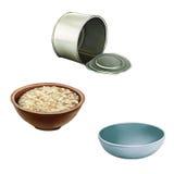 被打开的空的罐头,碗燕麦粥,蓝色宠物 免版税库存图片