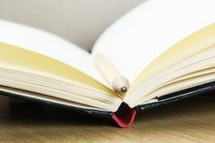 被打开的笔记本空的页有铅笔的 图库摄影