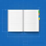 被打开的笔记本风格化图画 库存图片