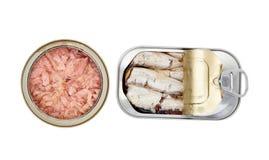 被打开的罐头被保存的鱼 库存照片