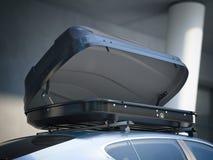 被打开的行李架和现代汽车 3d翻译 免版税库存图片
