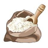 被打开的袋子面粉,半满 宽松产品的木匙子 存放面粉 烹调 向量 库存照片