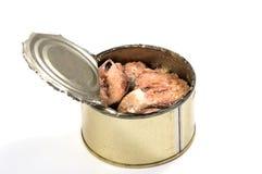 被打开的金属能用被保存的沙丁鱼 免版税库存图片