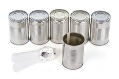 被打开的锡和开罐头用具 库存照片