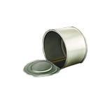 被打开的Tincan有肋骨金属锡罐,罐头 图库摄影