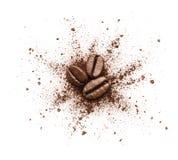 被打碎的咖啡粉末 免版税库存图片