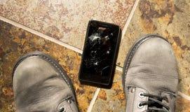 被打碎的智能手机 免版税库存图片