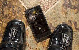 被打碎的智能手机 免版税库存照片