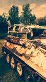 被打击的老坦克 库存照片