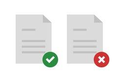 被批准的和被拒绝的文件 库存例证
