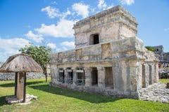 被找出的玛雅墨西哥半岛破坏tulum尤加坦 老城市 Tulum考古学站点 里维埃拉玛雅人 墨西哥 免版税库存图片