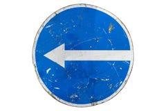 被抓的弯的回合蓝色路标'在丝毫向左转'隔绝 库存例证