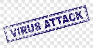 被抓的病毒攻击长方形邮票 向量例证