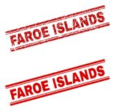 被抓的织地不很细法罗群岛邮票封印 库存例证