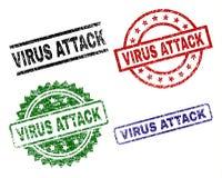 被抓的织地不很细病毒攻击邮票封印 库存例证