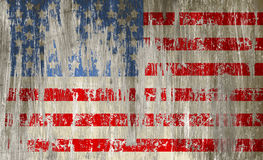 被抓的金属表面、星和st上的损坏的脏的美国旗子 库存图片