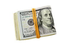 被折叠的堆一百元钞票 库存图片