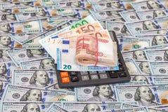 被折叠的堆俄罗斯卢布、欧洲钞票和计算器 免版税库存照片